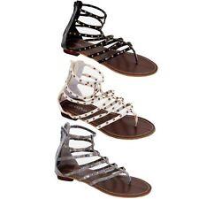 Mujer Charol tachuelas doradas Fino correas Informal Zapatos de mujer