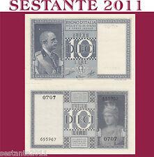 ITALIA ITALY, 10 LIRE IMPERO - DITTATURA FASCISTA, 1944 XXII, P. 25c, FDS / UNC