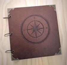 Retro Compass Wedding Guest Book, Travel Adventure Book, Scrapbook, Photo Album