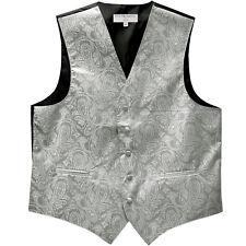 New Man Tuxedo Waistcoat Paisley Silver Vest only Formal Wedding 5XL 6XL