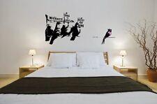 Banksy Graffiti 2014-ANTI PICCIONI dell' immigrazione-Grande Adesivo Parete Decalcomania NUOVO