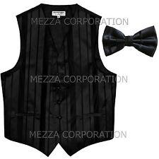 New Men's Tuxedo Vest Waistcoat Stripes Bowtie prom wedding formal party Black