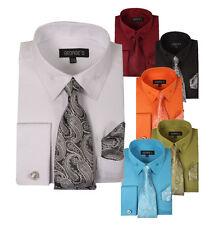Men's French Cuff Dress Shirt w/ Matching Tie, Handkerchief & Cufflinks #619