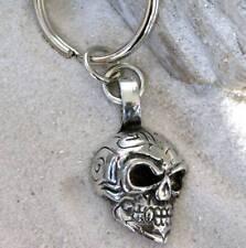 GOTHIC BIKER SKULL  Pewter KEYCHAIN Key Ring FOB