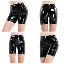 Damen Lackleder engen Shorts Club Hot Pants Unterwäsche kausalen Hosen Schwarz