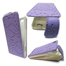 Per Sony Xperia M C1904 Gioielli Glitter Lilla Custodia a Flip pelle Pu