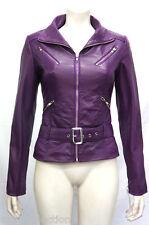 Indiana Purple Ladies Women Retro Designer Real Soft Sheep Napa Leather Jacket