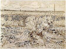 Van Gogh Drawings: Wheat Field with Sheaves - Fine Art Print