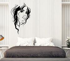 Wall Vinyl Decal Beautiful Girl Face Sexy Lips Eyes Hair Interior Decor z4829