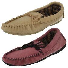Ladies Bella Slip On Suede Leather Mocassin Slippers