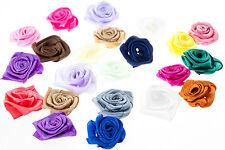 LOT 5 - 10 FLEURS ROSE EN RUBAN SATIN 25 mm Couleur Mixte, Fleur Embelissiement