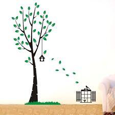 Large Jungle Tree Birds Cage Wall Decal sticker Home decor DIY Vinyl art mural