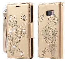 Handy Tasche Schutzhülle Schmetterlinge iPhone 7 Kartenfach pink rot gold braun