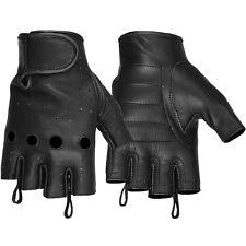 Hugger Affordable Unlined Men's Fingerless Motorcycle Gloves Gel Padded Palm