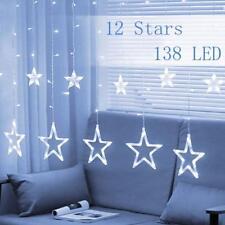 138 LED Star Curtain Window Fairy Lights Twinkle Christmas Party Wedding Decor