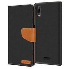 Handy Hülle Wiko Y80 Tasche Wallet Flip Case Schutz Hülle Stoff Cover