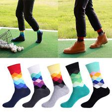 Stylish Mens Breathable Cotton Warm Colorful Diamond Casual Dress Socks 9-11