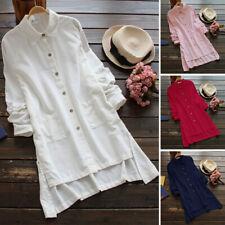ZANZEA 8-24 Women Button Down Shirt Tee Top Cotton Baggy Plus Size Tunic Blouse