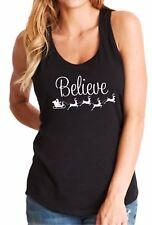 Ladies Tank Top Believe Santa Claus Reindeers T-Shirt Christmas Tee Shirt X-mas