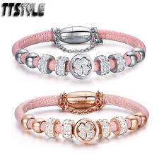 TTstyle S.Steel Swarovski Crystal Clover Bead Pink Bracelet Wristband safe chain