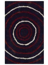 Geometric Soft Modern Black Ivory Red 8x10 Shaggy Oriental Area Rug 5'x8' / 6'x9