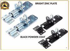 """BRENTON PADBOLT Gate LOCK Sliding Bolt Shed Door BOLT Black, Zinc 4"""", 6"""", 8"""""""