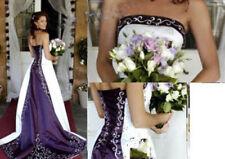Purple/White Embroidery Wedding Dresses A Line Custom Color Size Bridal Dresses