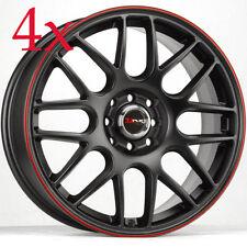 Drag Wheels DR-34 17x7.5 5x100 5x114 +45 Black w/ Red Stripe Rims For TC Lancer