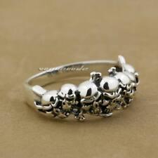 925 Sterling Silver Tiny Skull Mens Biker Rocker Gothic Ring Punk Jewelry 8Y013B
