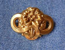 Rich Gold Color Solid Back Antique Floral Pin Hollow Cast