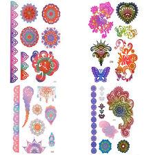 Henna Temporary Tattoo Metallic Gradient Colour Temporary Flash Tattoo Stickers