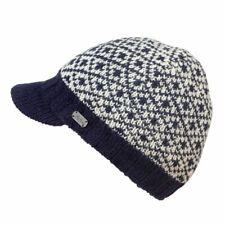 Kusan 100% Wool Knitted Peaked Beanie Cap Blue or Red (PK1713)