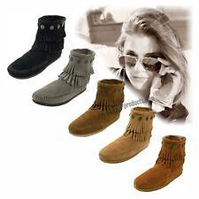 Minnetonka Moccasins Double Fringe Side Zip Boots Mokkasins Wildleder Handarbeit
