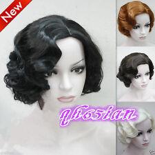 Ladies Short wig Classy Vintage Curly Wavy-Style Wig in Black/Brown/Blonde Wigs