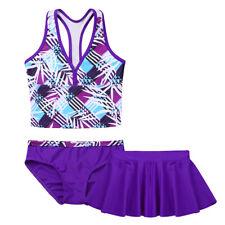 Mädchen Tankini Set mit Shorts und Rock Badeanzug Schwimmen Schwimmanzug Lila