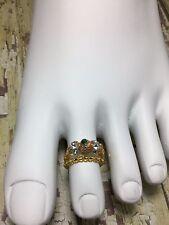 Handmade Healing Stretch Crystal Toe Rings W/Swarovski Crystal Elements Usa