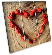 Hot Chilli Kitchen Heart TREBLE CANVAS WALL ART Square Print Picture