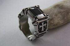 Cruz anillos góticos Negro Onyx Piedra Stainless Steel Acero inox. / 378