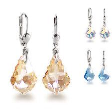 Ohrringe 925 Silber mit 16mm Swarovski® Kristall Barock Ohrhänger, Farbwahl