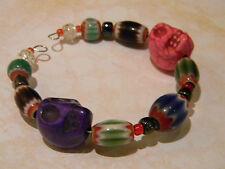 Day of the Dead Cuff Bracelet Purple & Pink Skulls Chevron Glass Beads Halloween