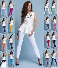 Damen Leggings lang Röhrenhose Blickdicht aus Baumwolle hoher Bund Knöchellang
