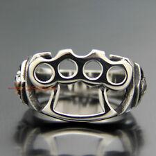 Brass Knuckle Duster Skull 316L Stainless Steel Men Silver Biker Ring Knucks