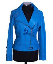 Mesdames tara bleu électrique neuf style motard véritable cuir d'agneau cuir homme veste