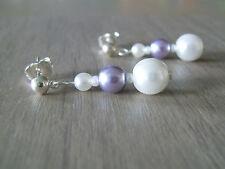 Boucles d'Oreilles Blanc/Parme p robe de Mariage/Mariée perles ( clip possible)