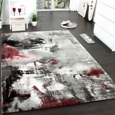 Tapis Design Moderne Toile Splash Gris Rouge Crème Marbré