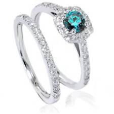 1ct Cushion Halo Treated Blue Diamond Engagement Ring Set 14K White Gold