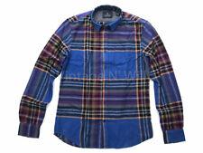 Scotch & Soda Mens L Blue Brushed Flannel Plaid Check Button Front Shirt 139576