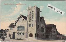 1913 LONG BEACH, CA, FIRST BAPTIST CHURCH VIEW POSTCARD