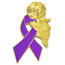 Ribbon Angel Enamel Lapel Pin PinMart's Purple Domestic Violence Awareness