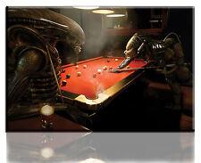 Wall Art Canvas Print of Predator Vs Alien Pool Game Framed